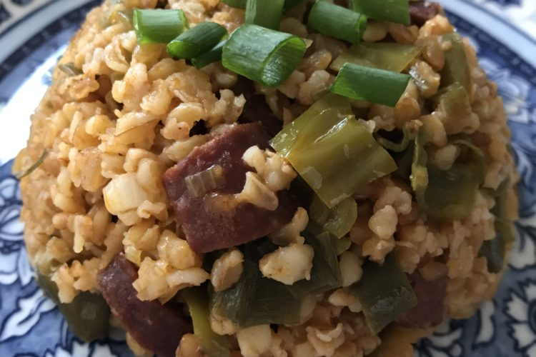 Siyez Bulgur Pilaf with Sucuk, Onions and Peppers